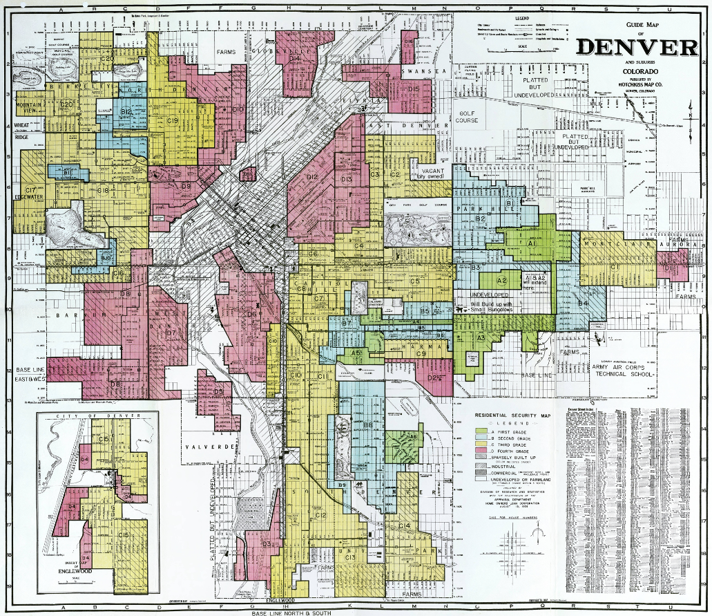 "Referred to as a ""residential security map,"" this map shows the redlining of Denver districts in 1938. (Credit: Denver Public Library, Western History Division, Call number CG4314.D4 E73 1938. U556)"