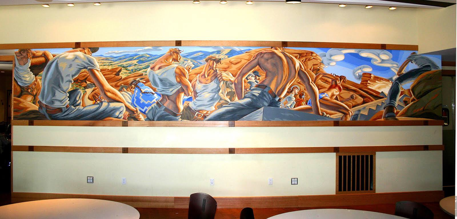 """Reid's """"March To Progress"""" mural, which was eventually accepted by the Commission. It now hangs in the Red Rocks Room at the concert venue. (Credit: Andrew Reid)"""