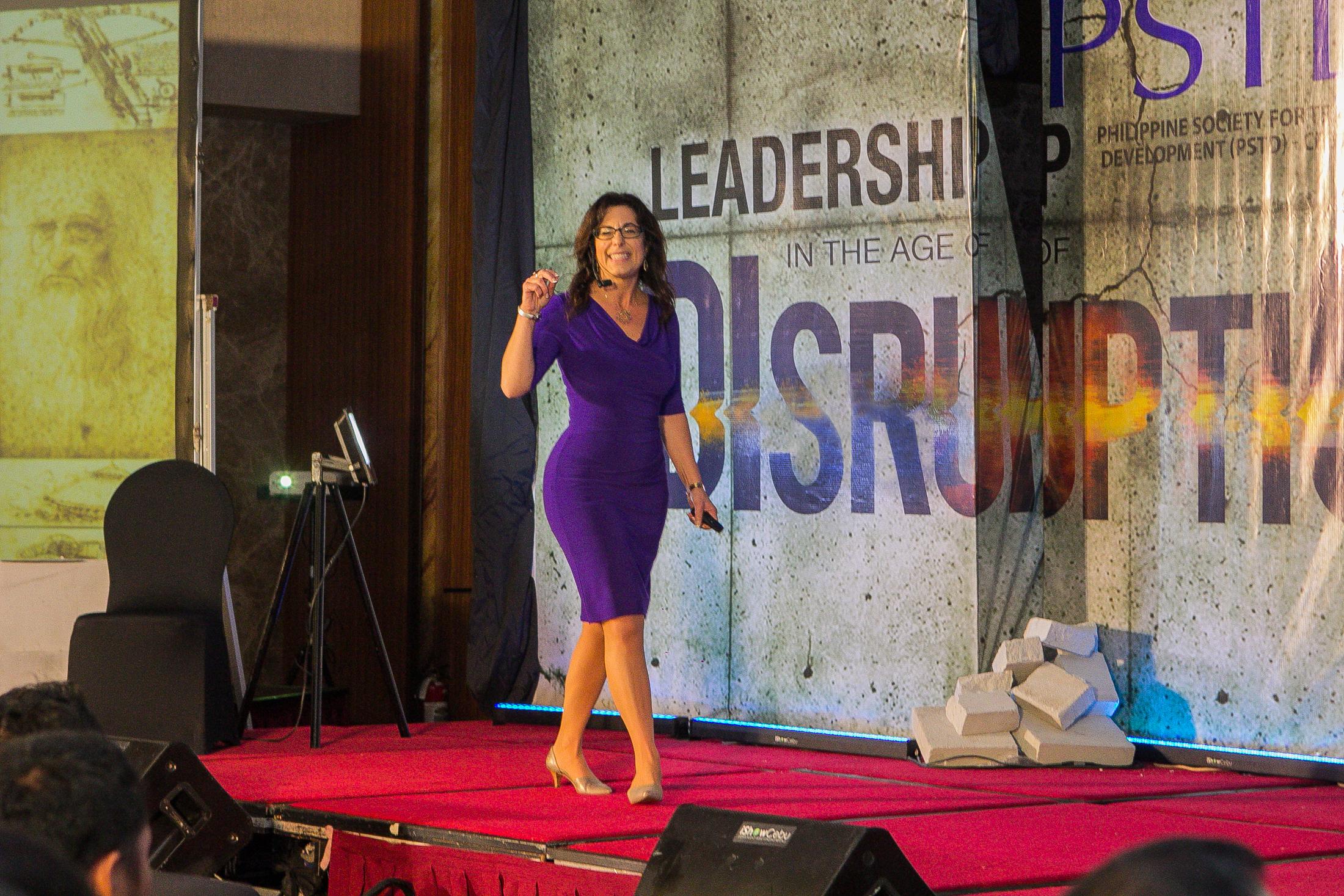 Jean Marie DiGiovanna leading a workshop on leadership and disruption. (Credit: Jovenir Bataican)