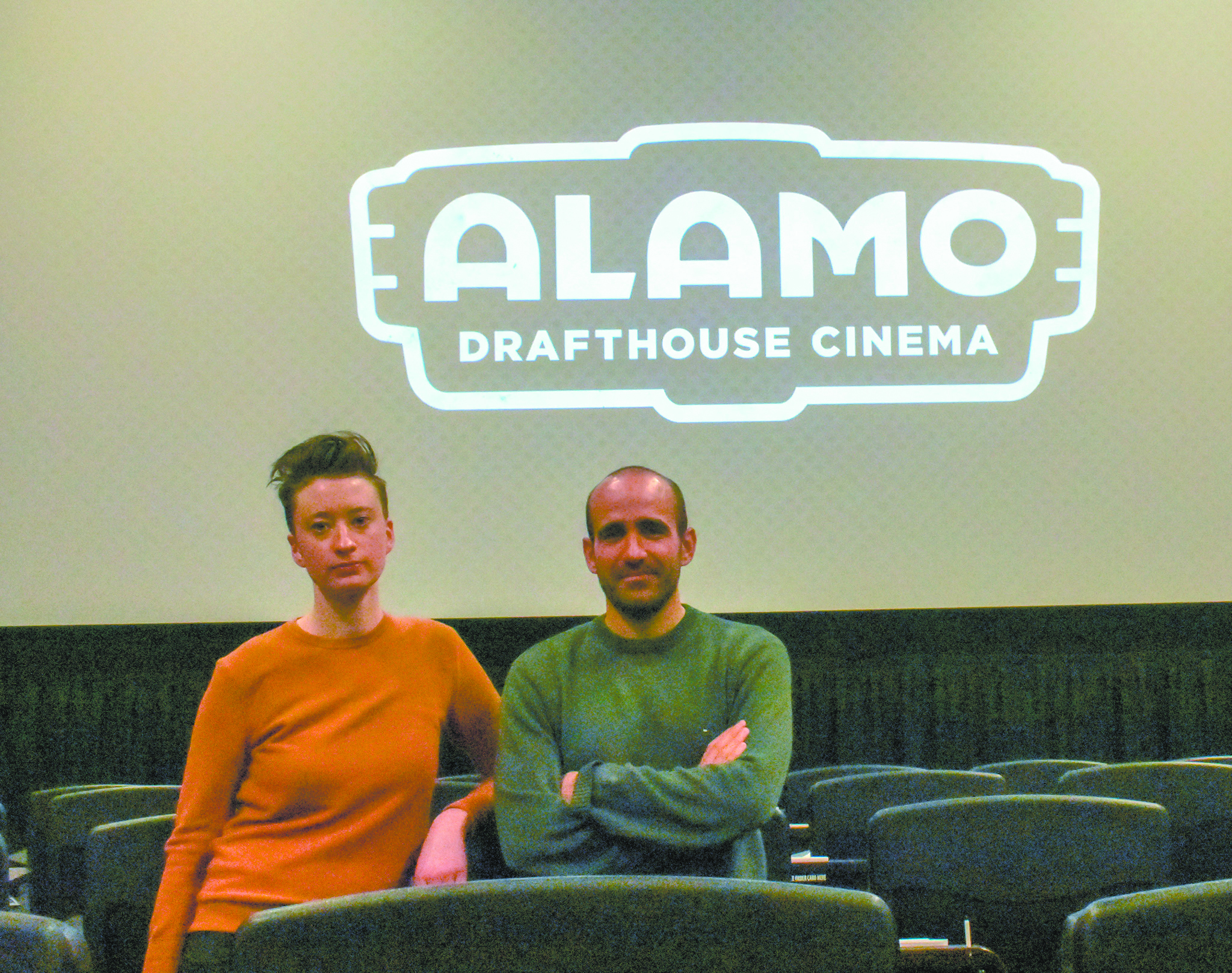 """Right To Rest"" filmmakers Sarah Megyesy (left) and Guillermo Roques (right) at a March 5 screening of their documentary at the Alamo Draft House Sloans Lake. (Credit: Sarah Ford)"