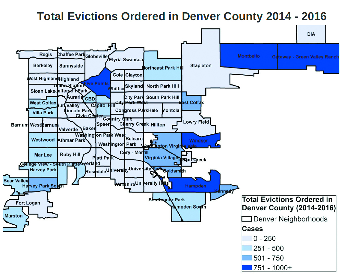 """Evictions ordered in Denver from 2014-2016. Neighborhoods which experienced the highest rate of evictions were Five Points, Windsor, Hampden, Montbello, Gateway-Green Valley Ranch. (Credit: """"Facing Eviction Alone"""" 2016 report)."""