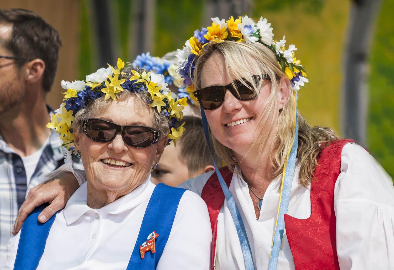Ruth Ann Fullner (left) and her daughter, Sharon Fullner at the 25th Anniversary Opening Ceremonies of the Scandinavian Midsummer Festival. Ruth Ann's sister, Liz Betts, began the festival to share and celebrate the family's heritage.