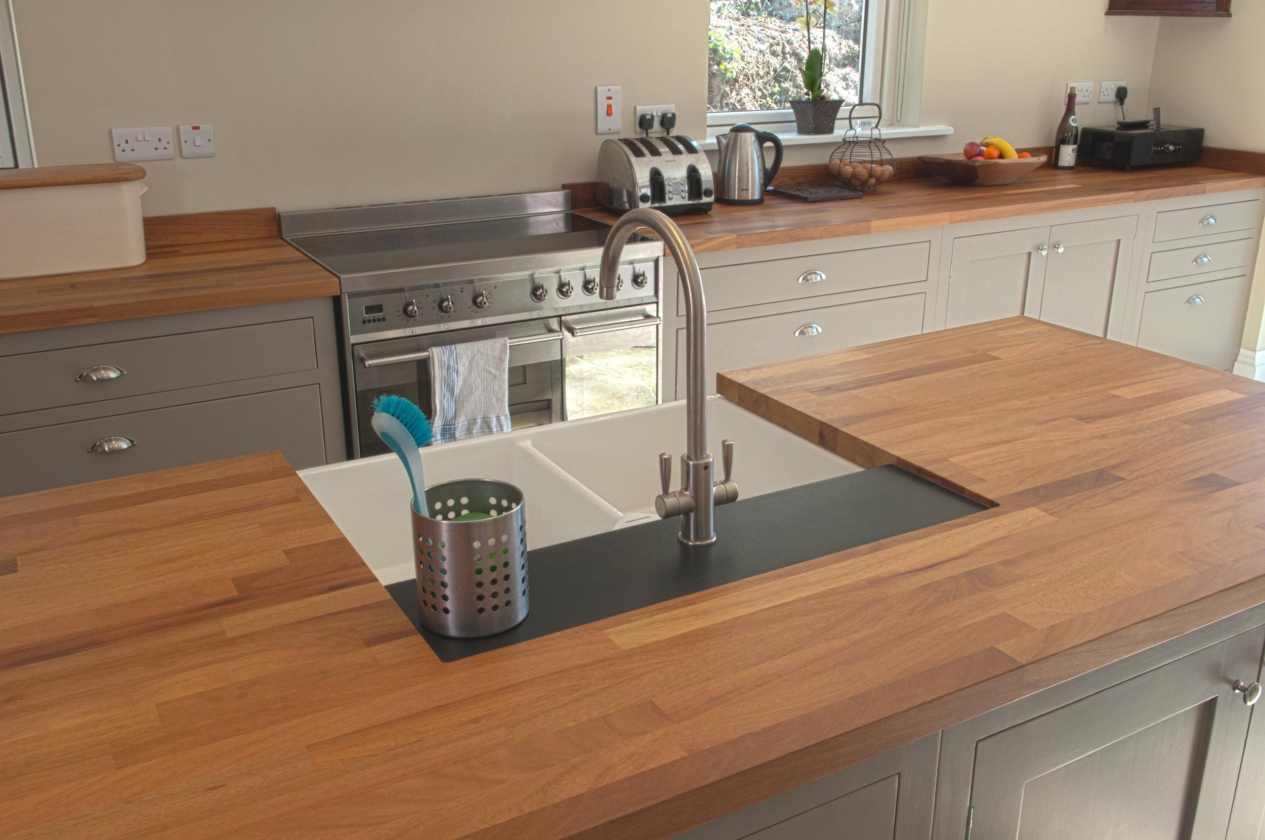 Sink worktop bespoke handcrafted kitchens Talisman Woodworks
