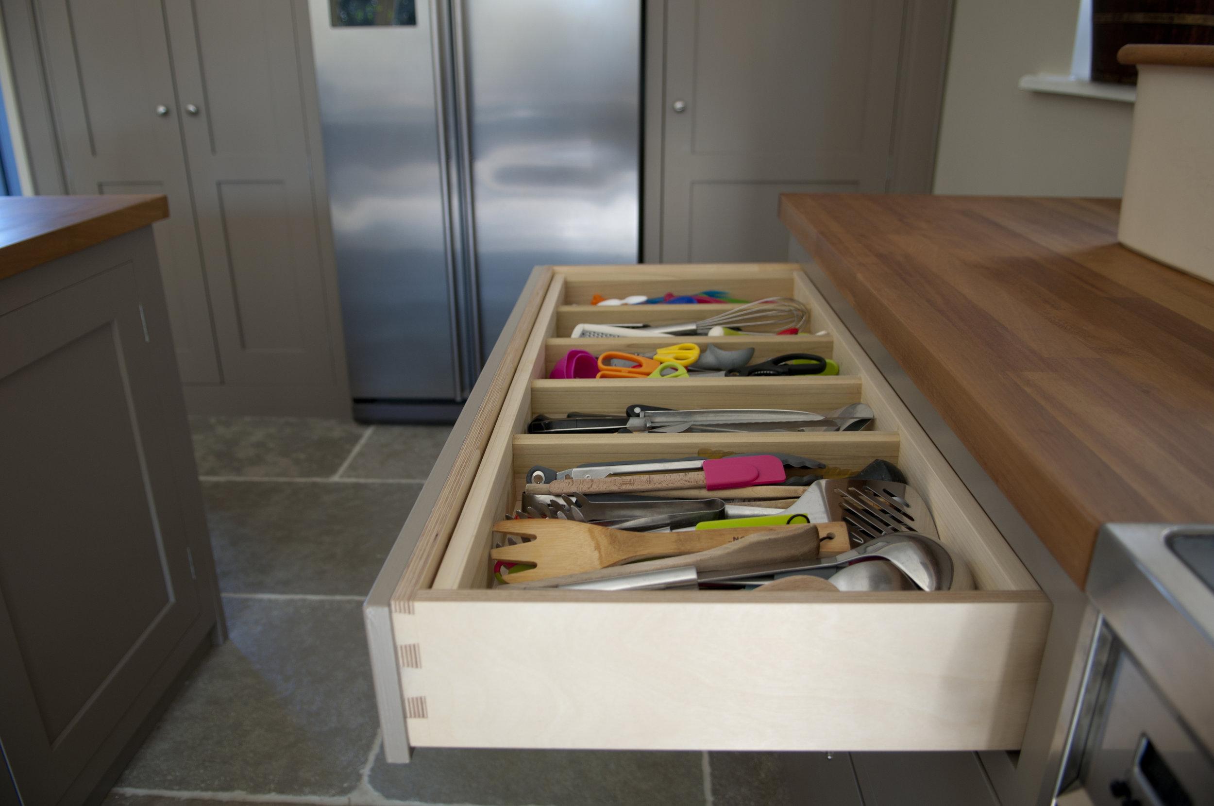 Cutlery drawer detail handmade bespoke kitchen Ireland