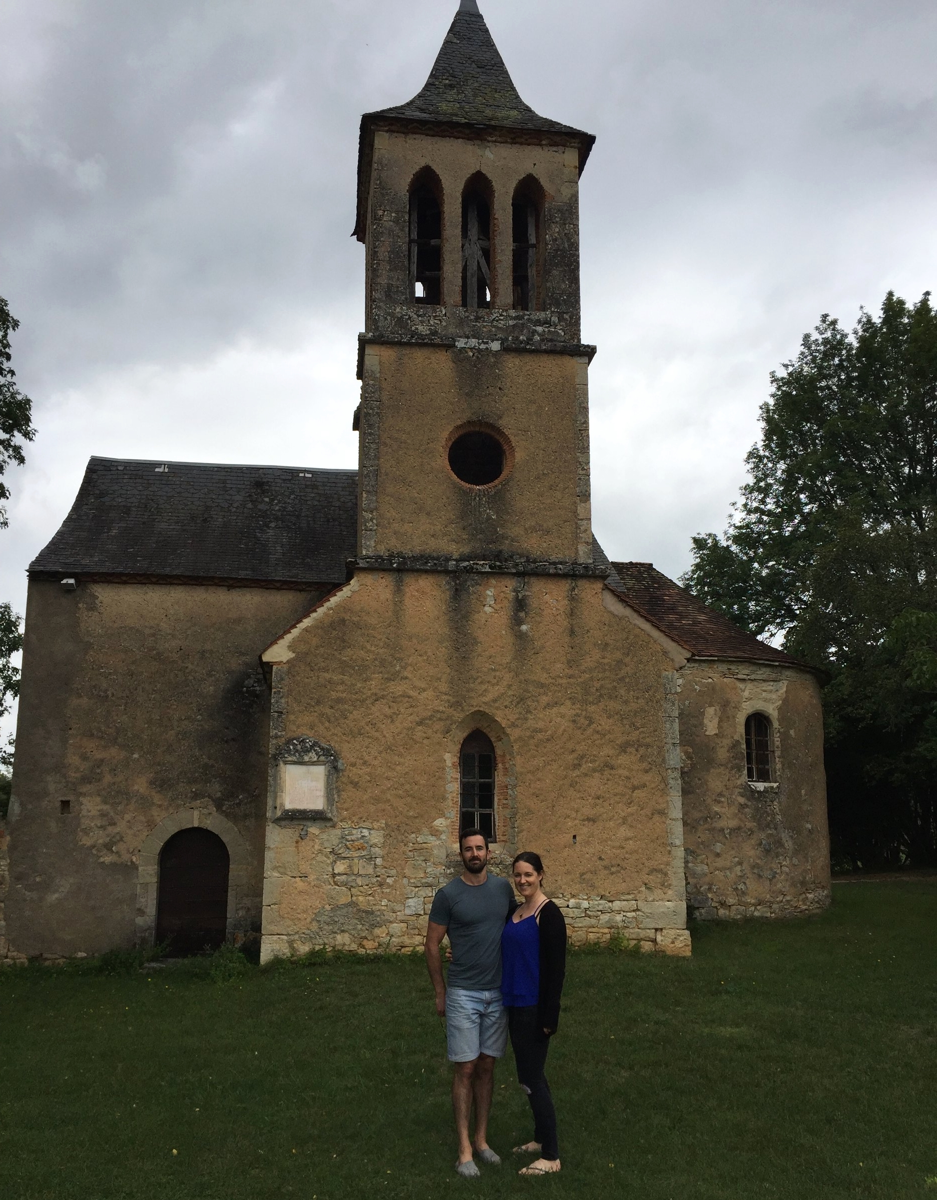 Will and I, on our eighth wedding anniversary outside the cute little church we got married in.