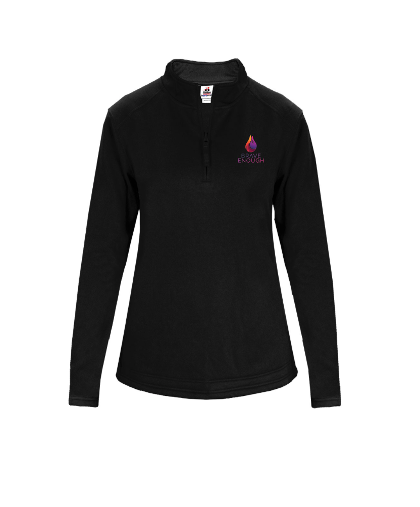 Decker Ladies' Poly Fleece 1/4 Zip - 100% polyester moisture management fabric | Zip front with self-fabric collar | Two pockets with headset opening | Thumbhole in sleeves | Open bottom with droptail hem | Cuffs feature smooth hem front with ribbing on back half | Sizes: XS-2XLAvailable in Black and Graphite.