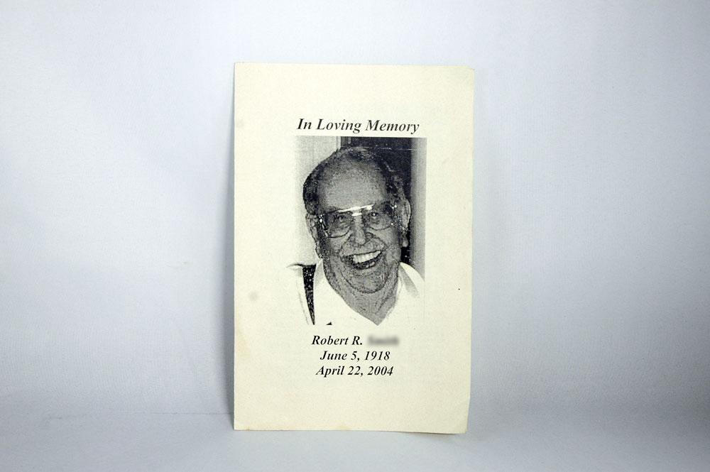 Dr. Bob's son Robert S.'s Funeral Memorial Card