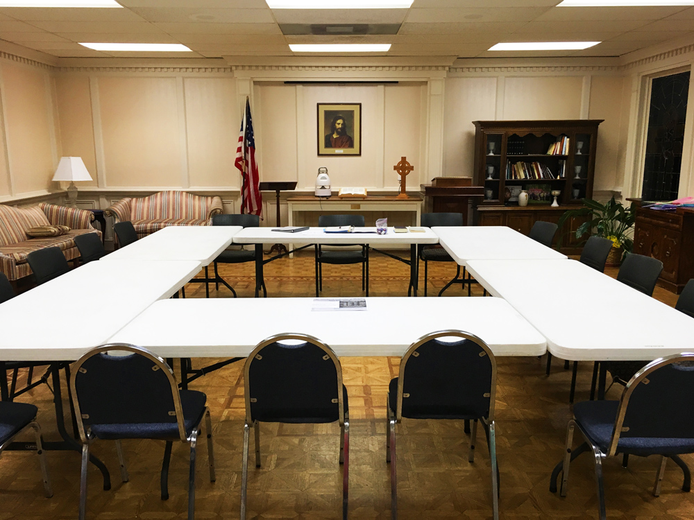 Current meeting room of the Winchester Group inside Woodland Presbyterian Church on Park between Estate and White Station.