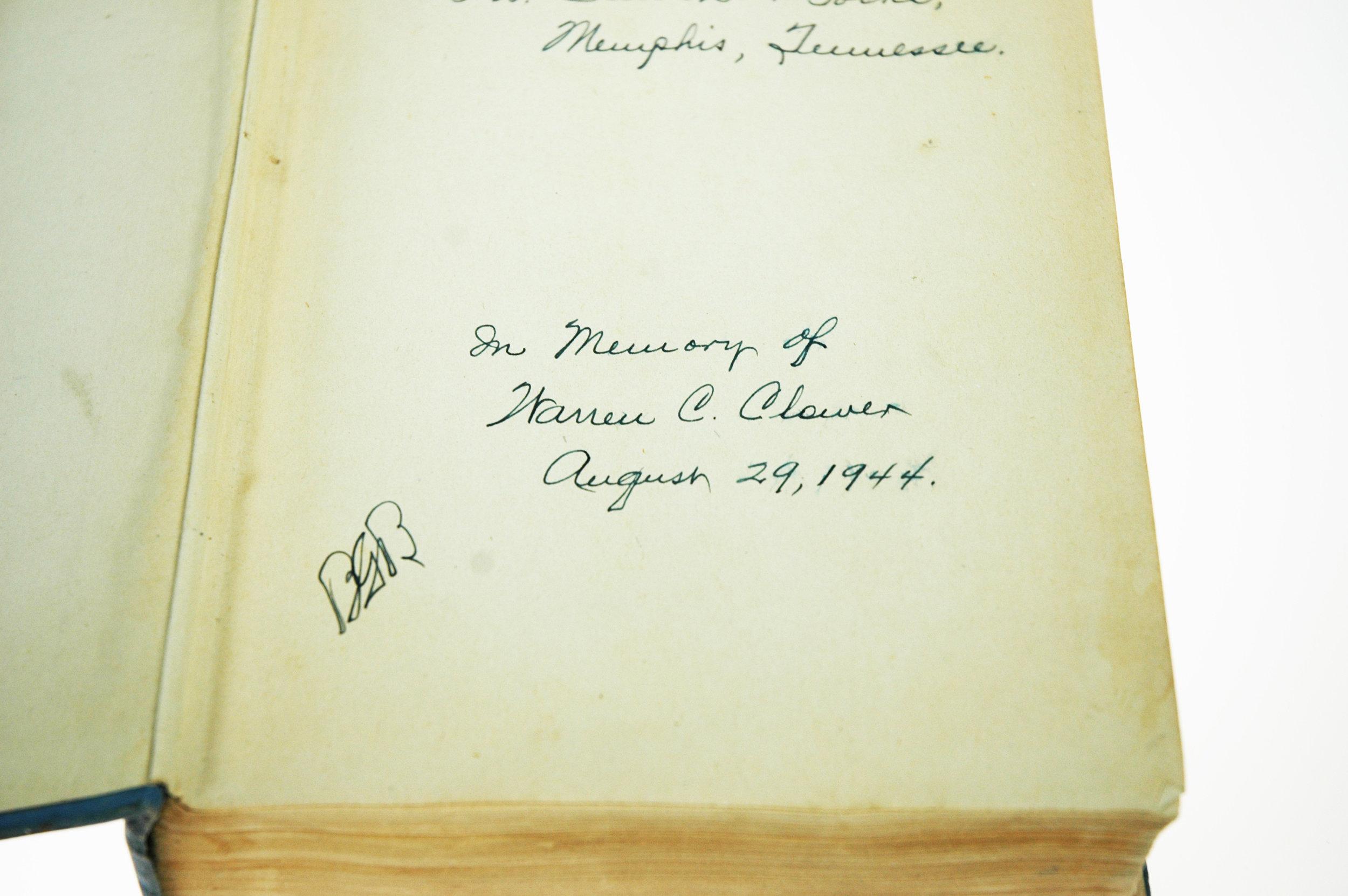 Warren Clower dedication inside book