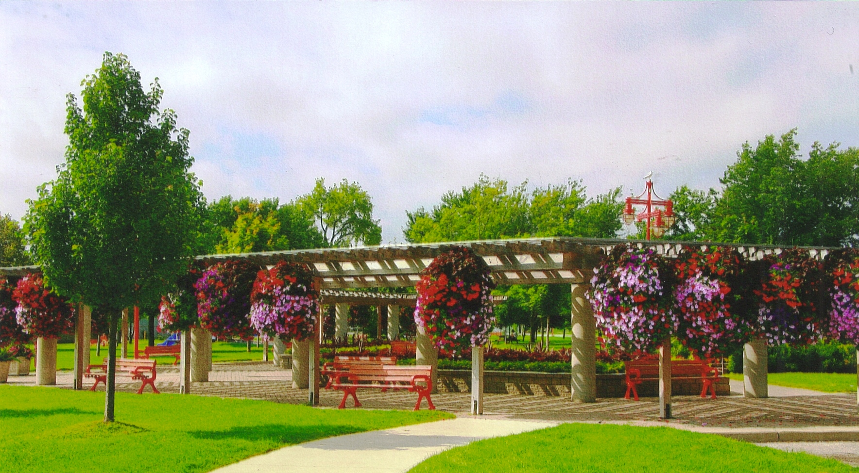 Rick Atkin Pk Arbor with hanging baskets_benches.jpg