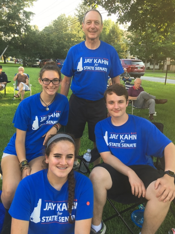 Kahn Interns at Walpole Town Green after a day of canvassing.
