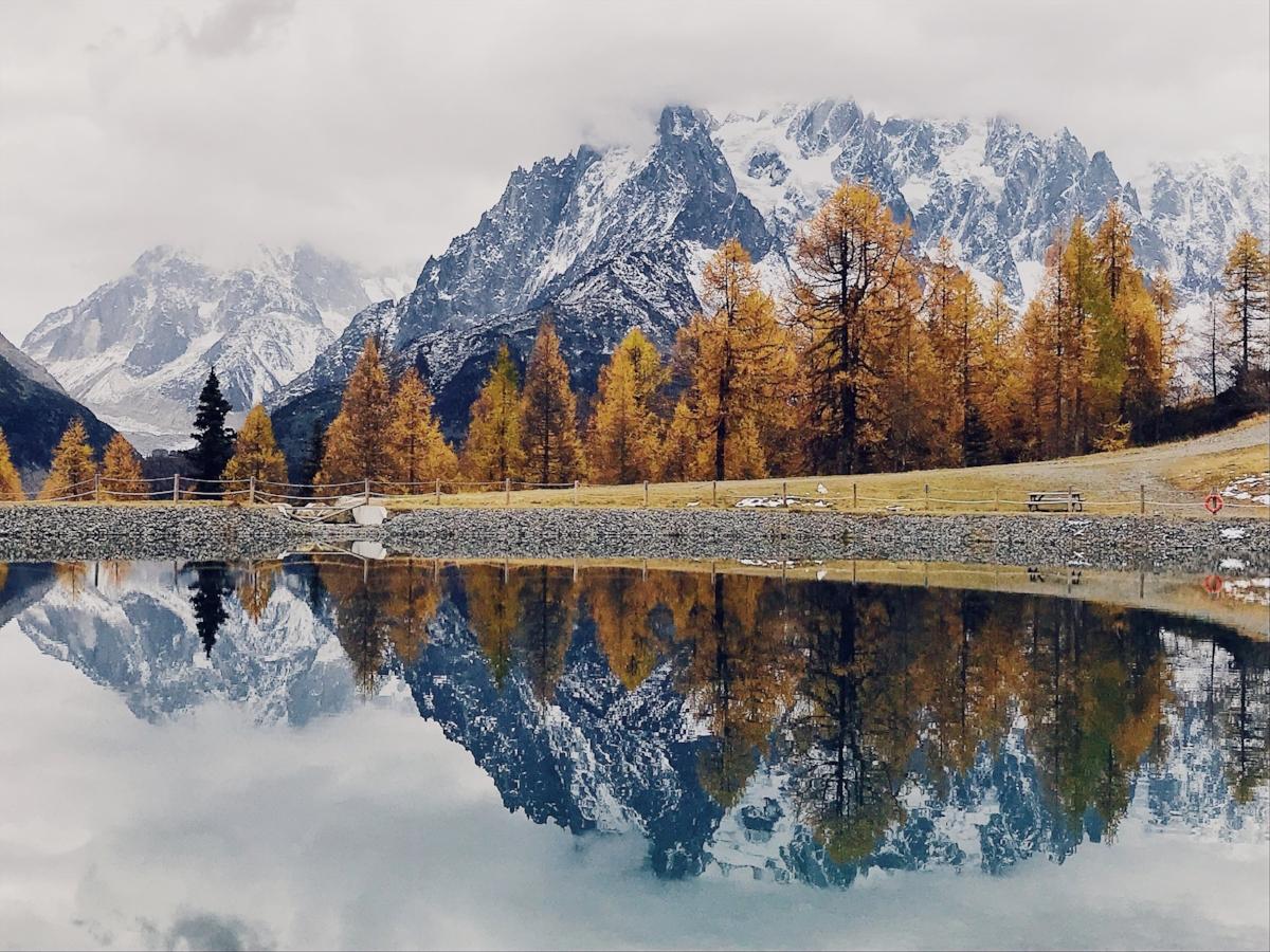 Chamonix Autum Lake Lac Blanc Aguille du Midi