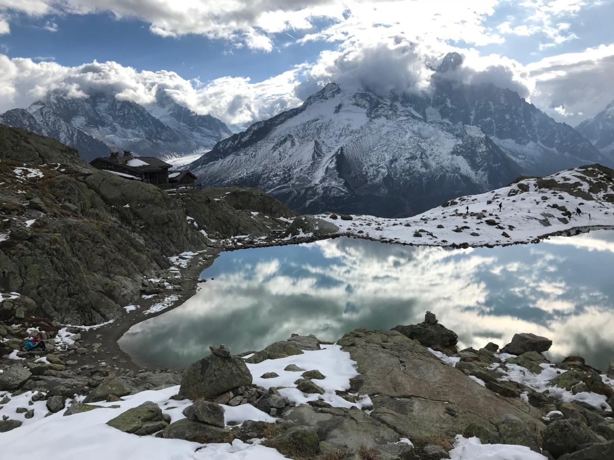 Chamonix Lake Reflection Lac Blanc and Aiguille du Midi