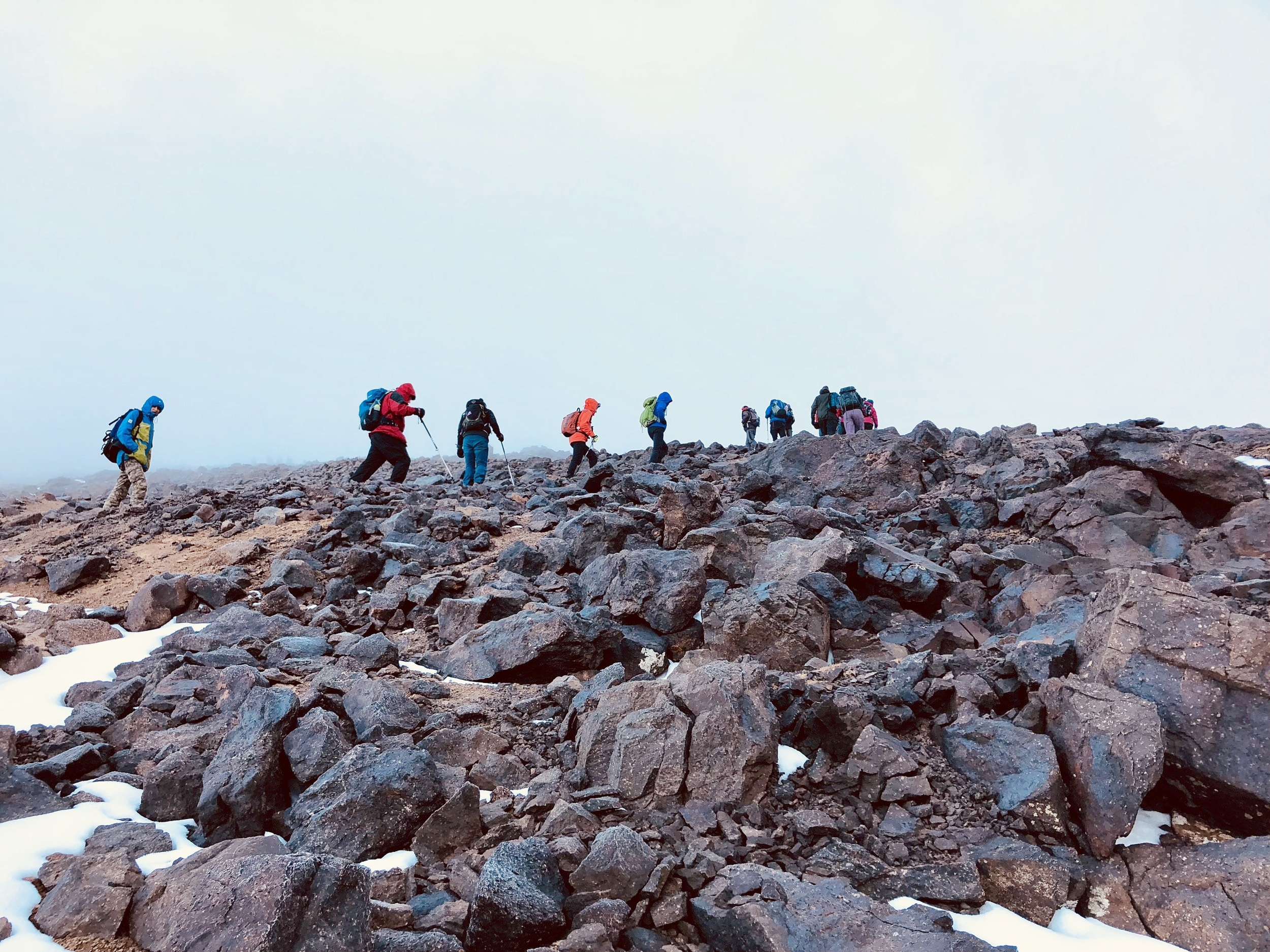 Heading up Mount Toubkal in good company