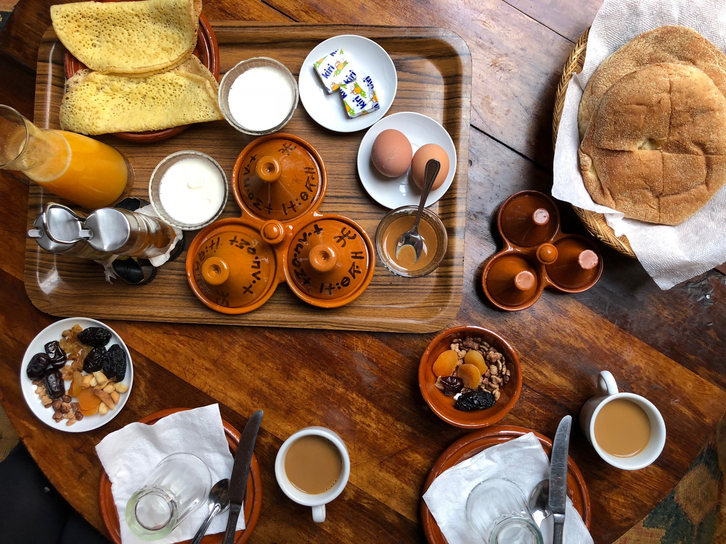 Typical breakfast at Kasbah du Toubkal