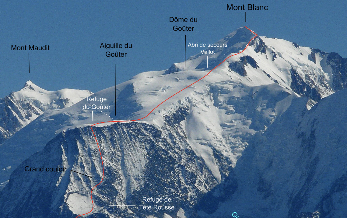 The route from Tete Rousse hut to summit - 12 hours round trip