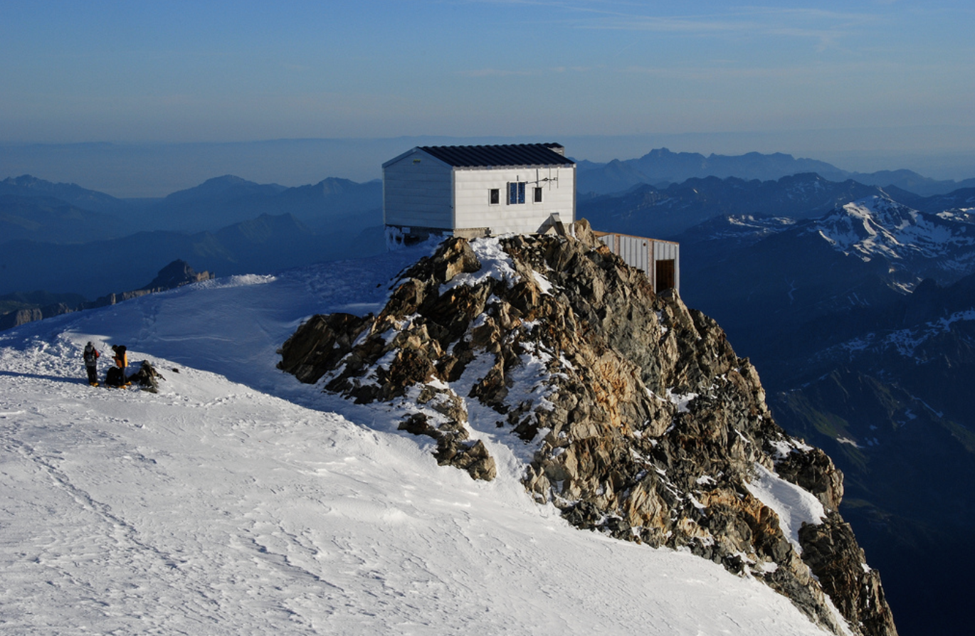 Vallot Hut is an aluminum shed for climbers to rest