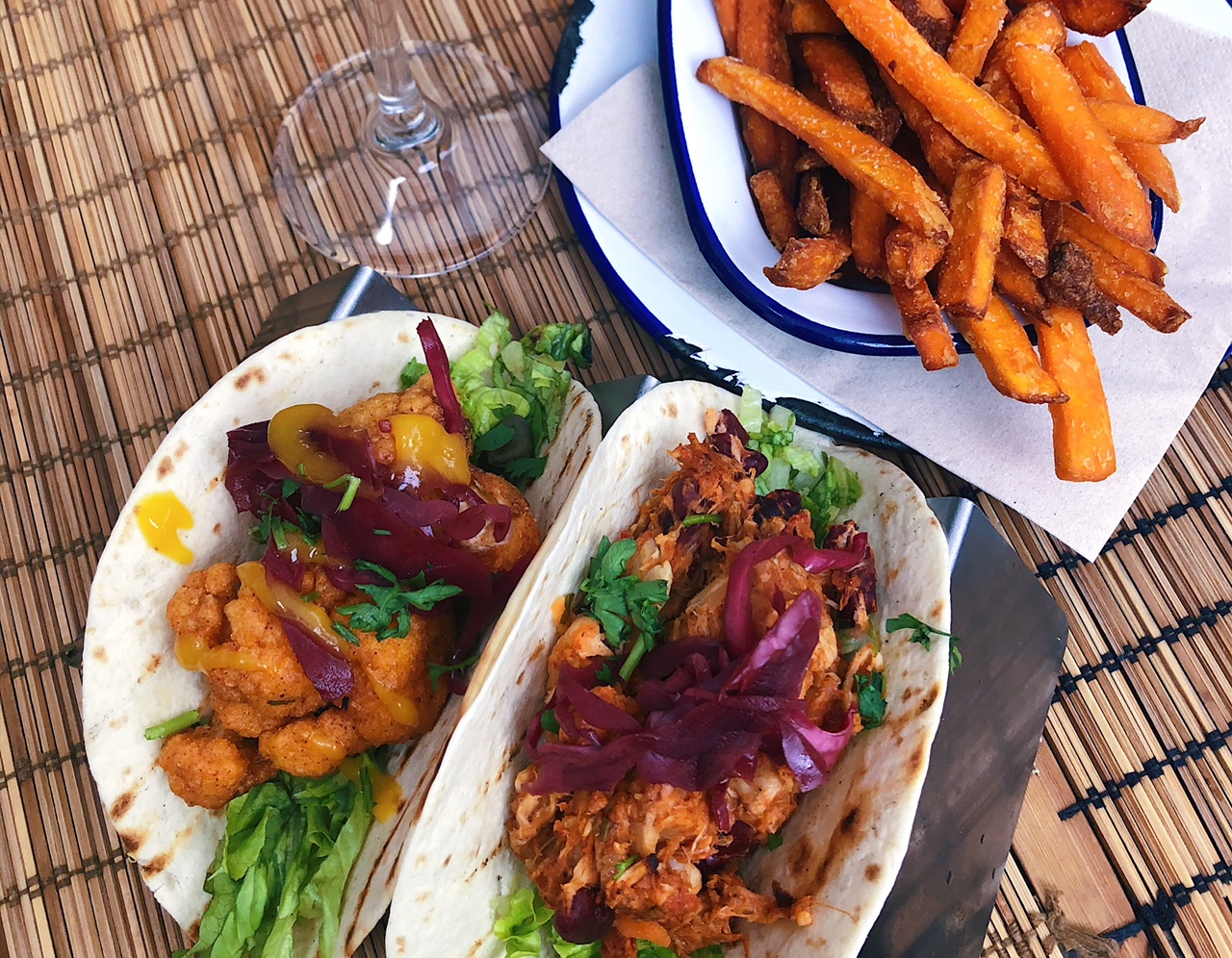 Veggie tacos and sweet potato fries from Monkey, the perfect post-adventure meal