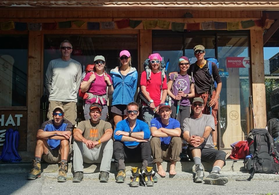 Team photo in village post-Mont Blanc summit