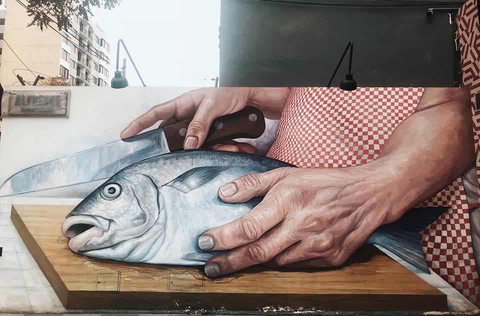 Fish street art in Lima