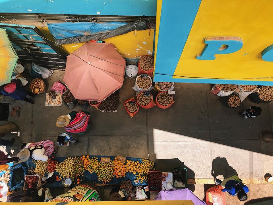 Aerial shot of Huaraz market