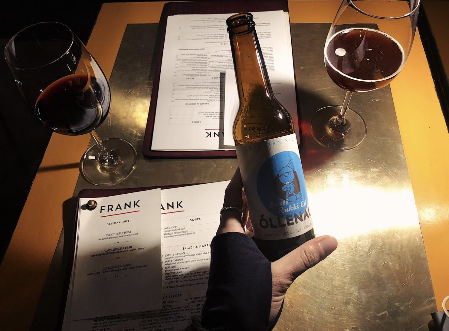 Frank and locally brewed beer