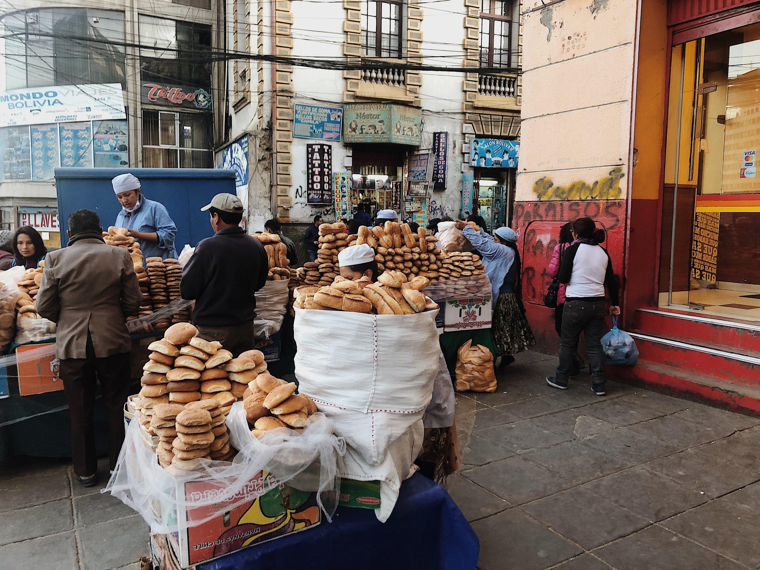 la paz bolivia bread street scene market