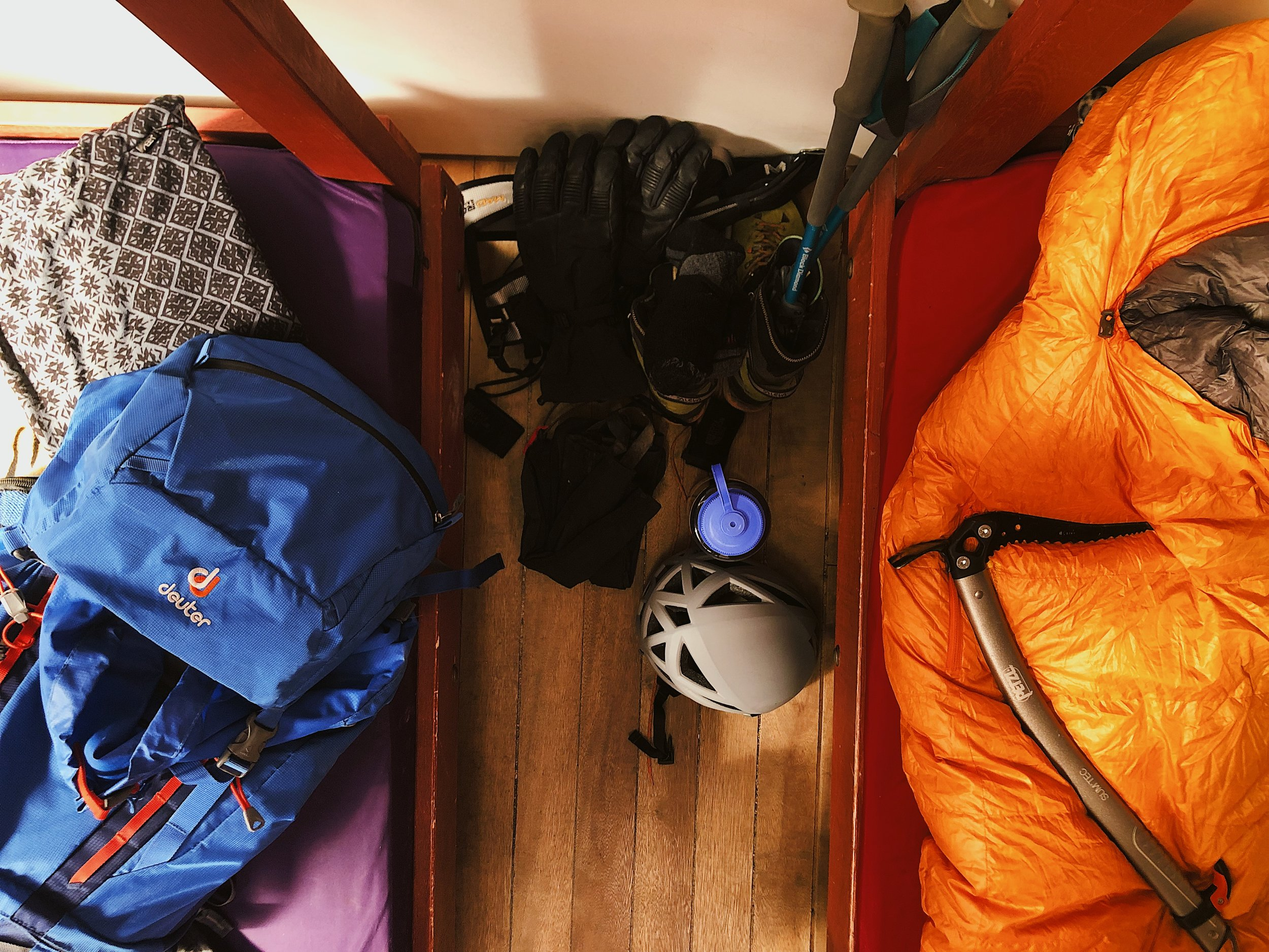 Packing for summit bid of Huayna Potosi at base camp