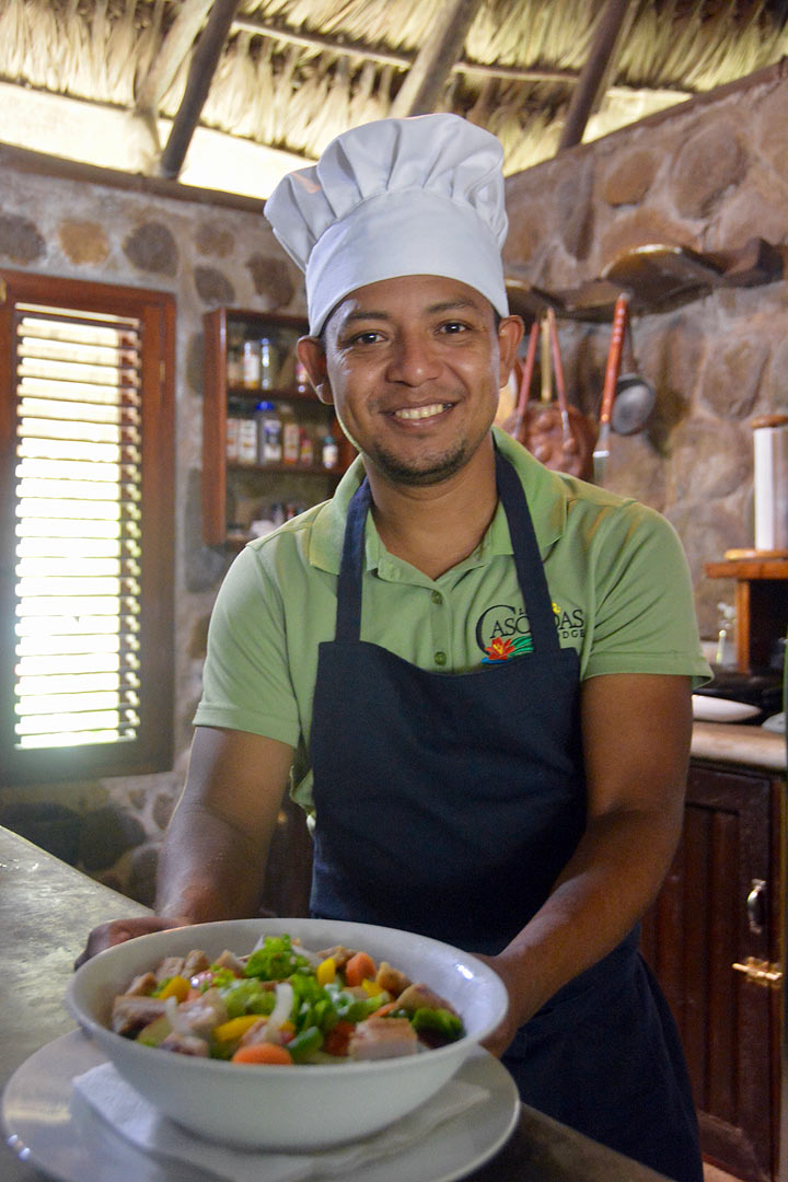 Chef Olvin  enjoys preparing fresh local foods.