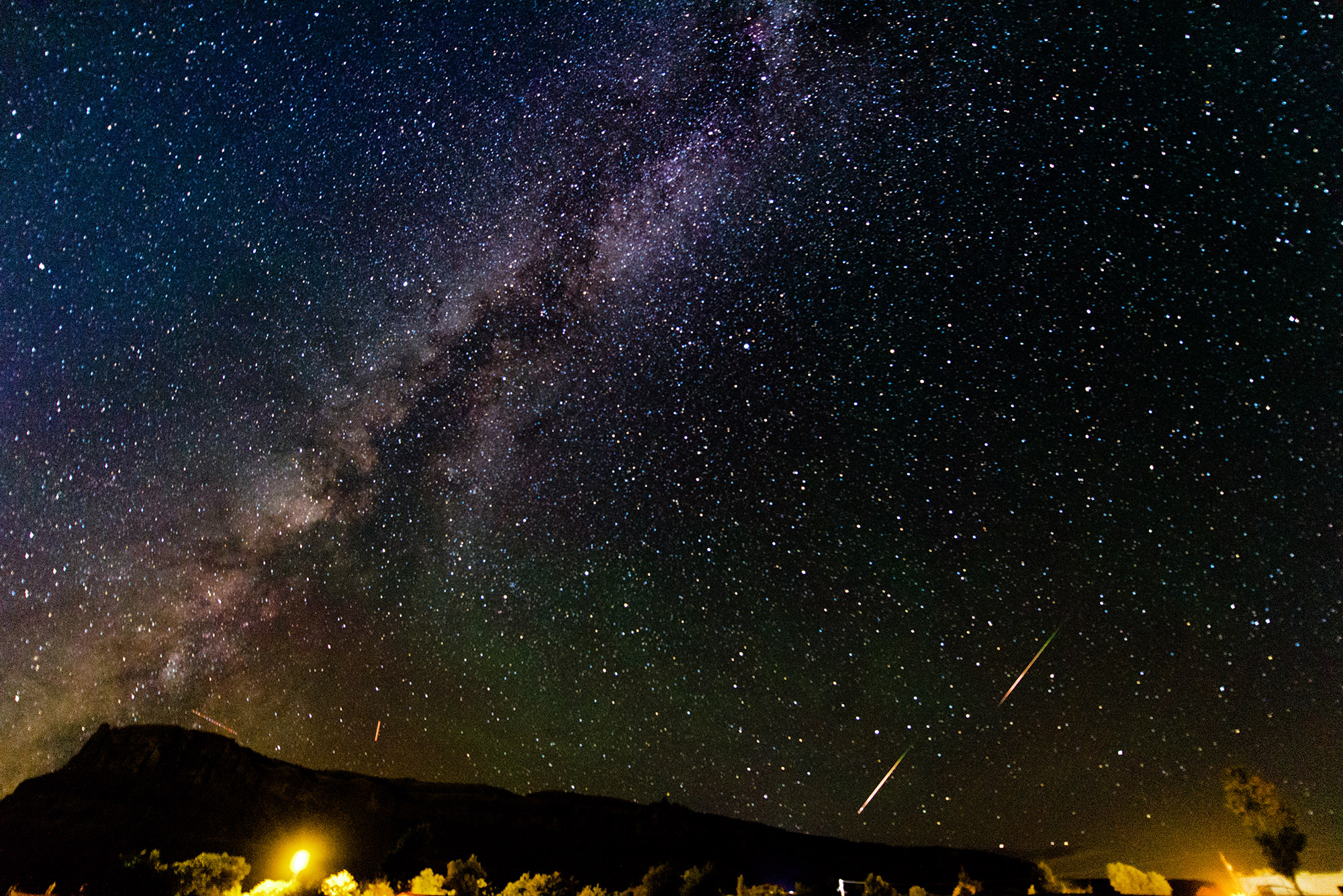 Moab, Utah 2015 - A plateau, the Milky Way, and two Perseid meteors - ISO 12800, 14mm, f/2.8, 20 Second Exposure
