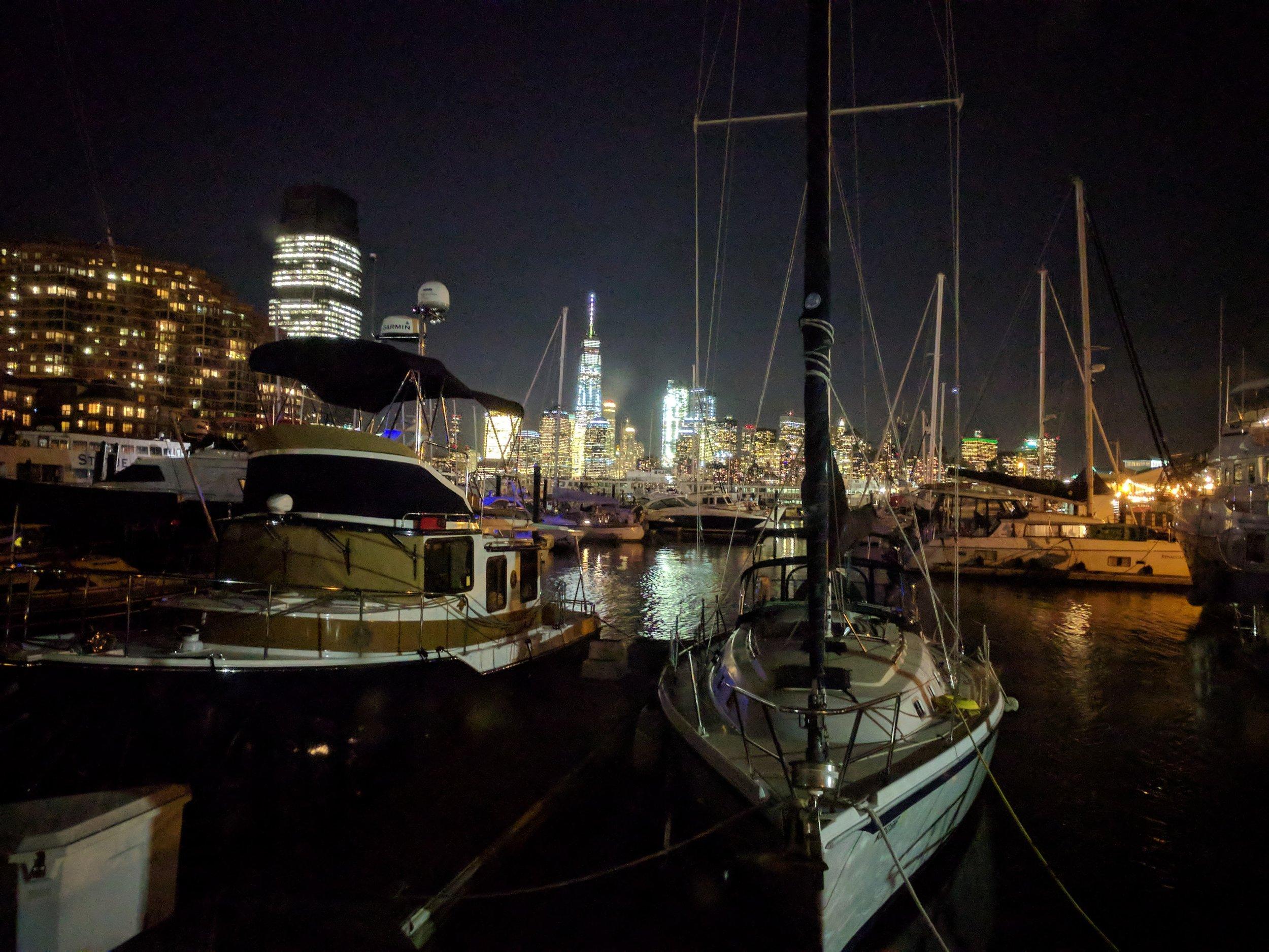 NY city skyline at night.