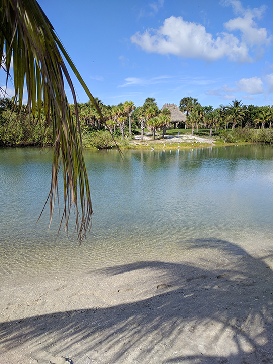 Lovely beach overlooking a waterway on Peanut Island.