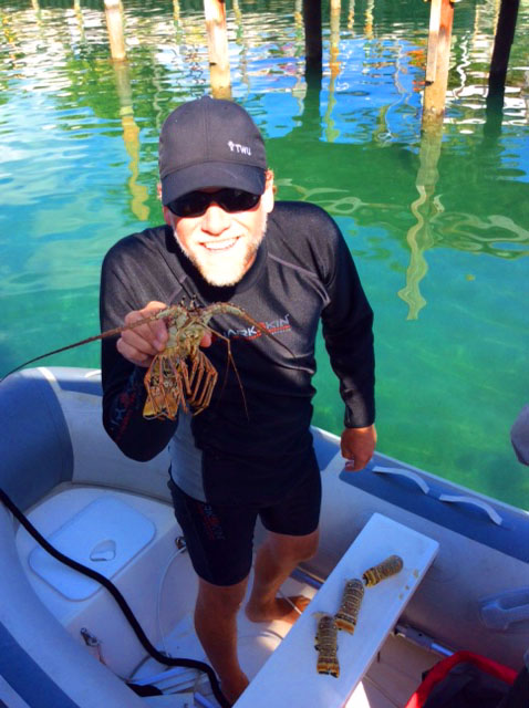 Catching local lobster.