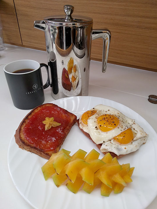 Breakfast is always better with starfruit and guava jam on toast.