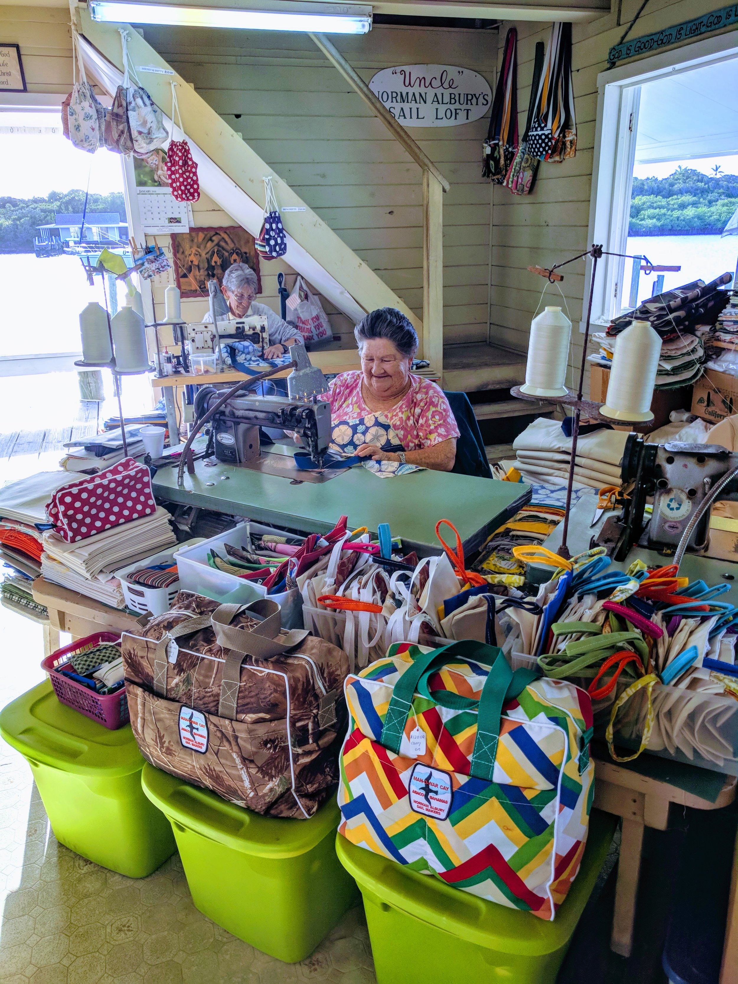 Ladies at work sewing at Albury Sail Shop.