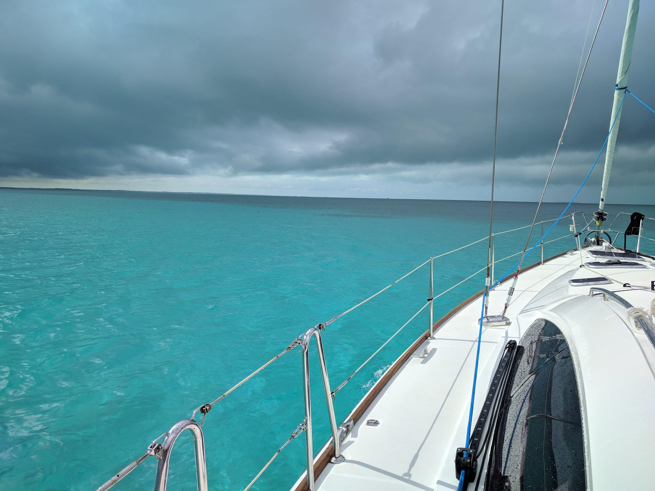 Heading back to Treasure Cay ahead of the storm.