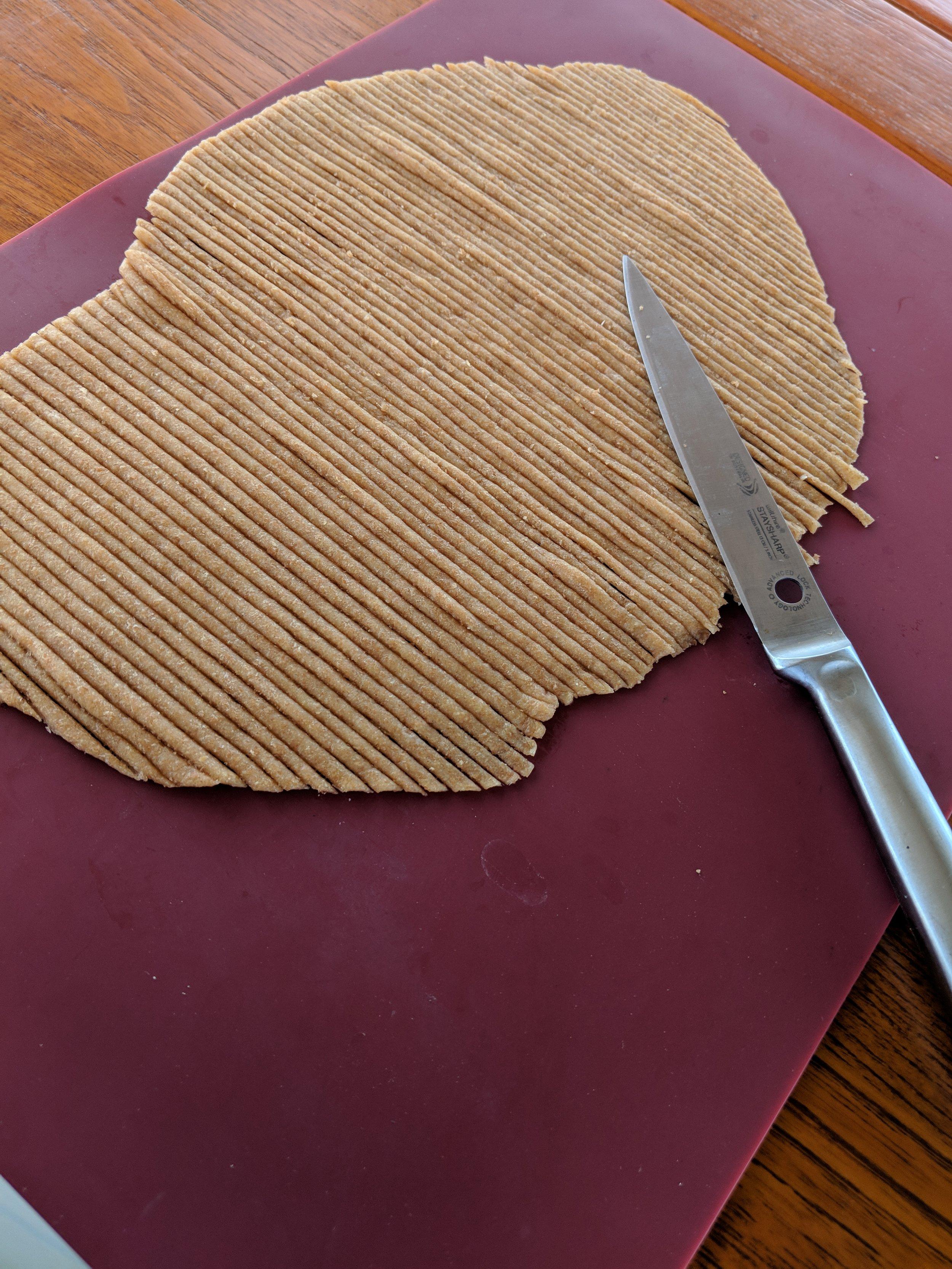 Pasta noodles prepped.