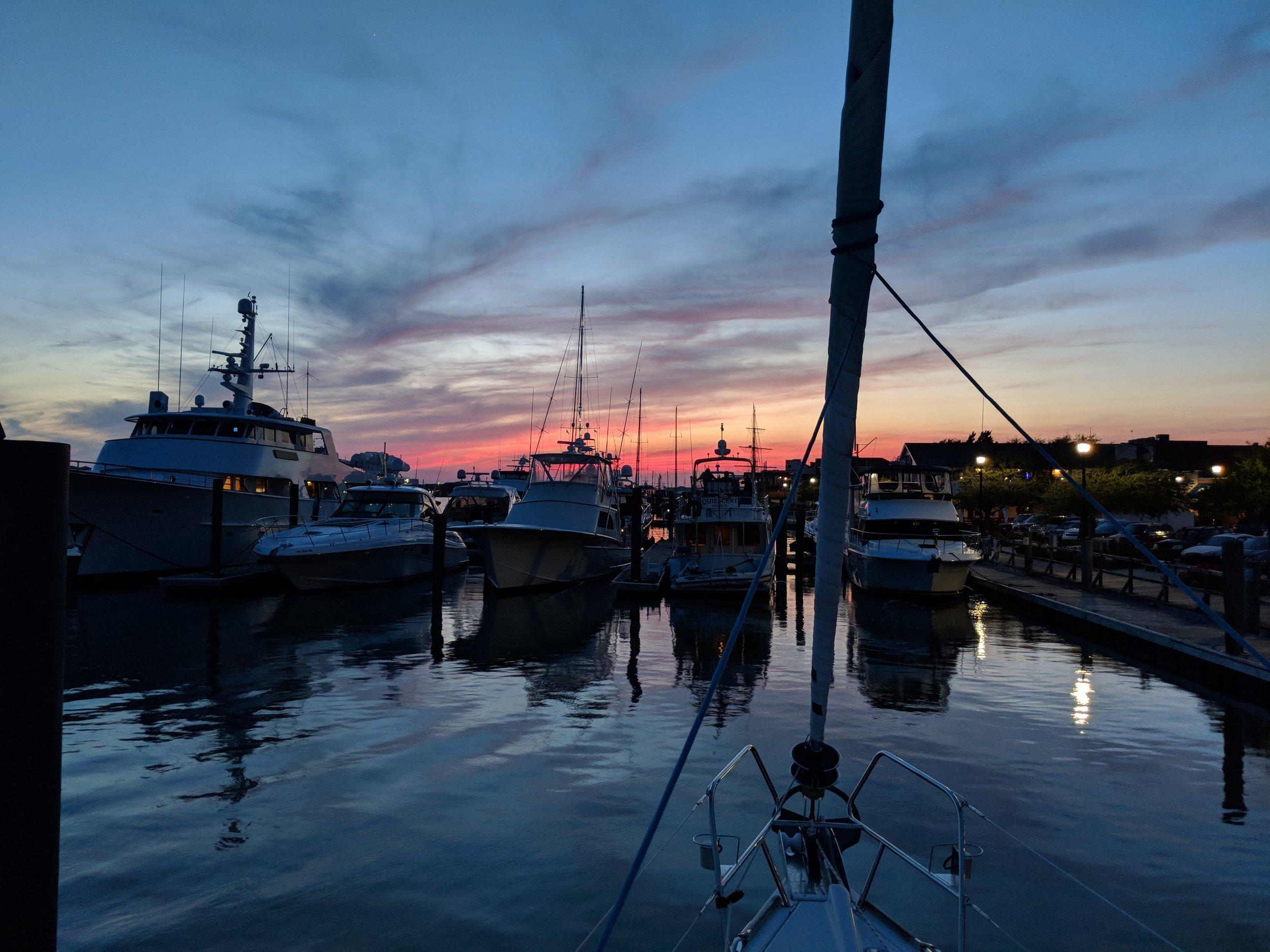 Sunset over the marina.
