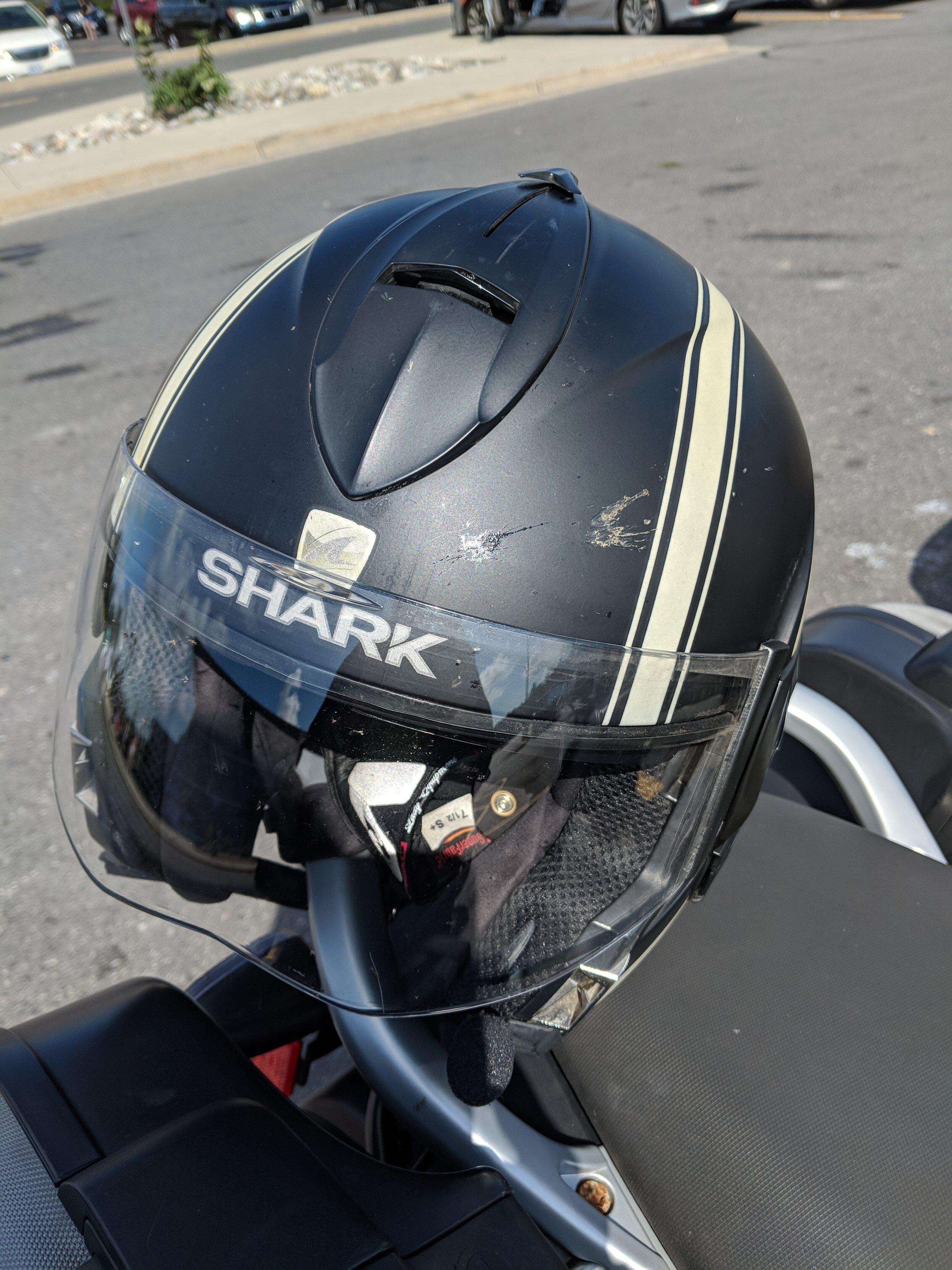 Bug splats on the helmet.
