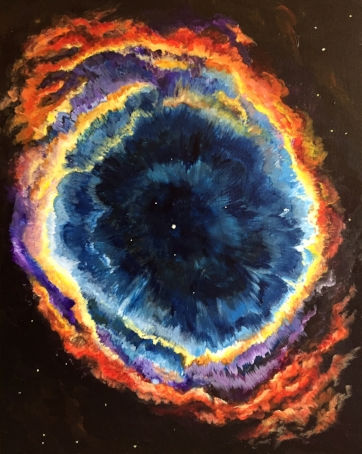 Helix NebulaIt's eyeball shape is a complex celestial body and may be comprised of 2 galaxies perpendicular to on another. A beautiful and colorful result that I could not resist but to try to capture. In person this really  feels 3 dimensional.    24x 30                                                                    Spring 2016            Giclee on canvas enhanced     $280.