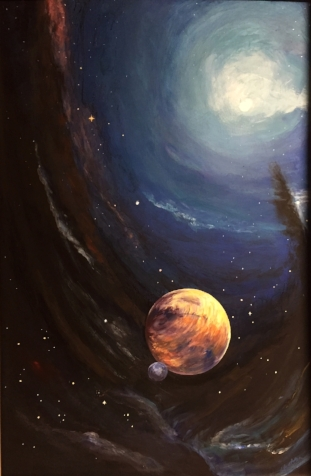 PLANETARY TRAVELS     This planet has drifted away from it's star and is enveloped by the darkness of black matter    28x 42                                                 Winter 2015  Original                                                     $680.   Giclee on canvas enhanced   $460.