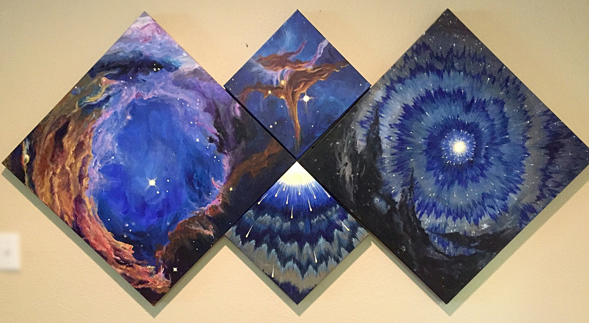 Star Gazing and Starburst with their companion pieces                 set of 4      Originals     1200.            Giclee on canvas enhanced    $800.