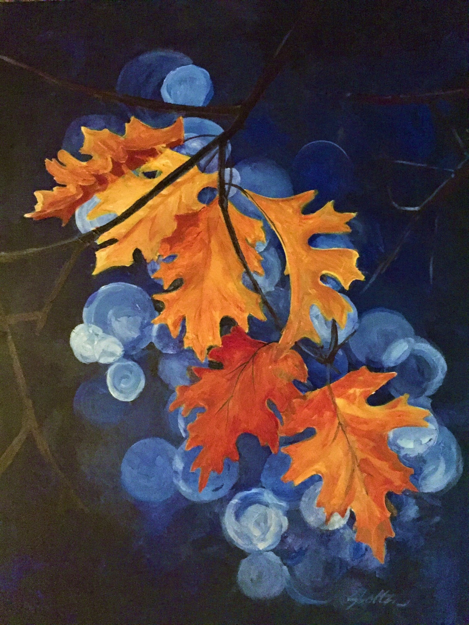 OAK LEAVES....holding on to life on a cold fall night. Out of focus blue lights enhance the golden fall leaves, popping the color.   18x 24   Fall 2015