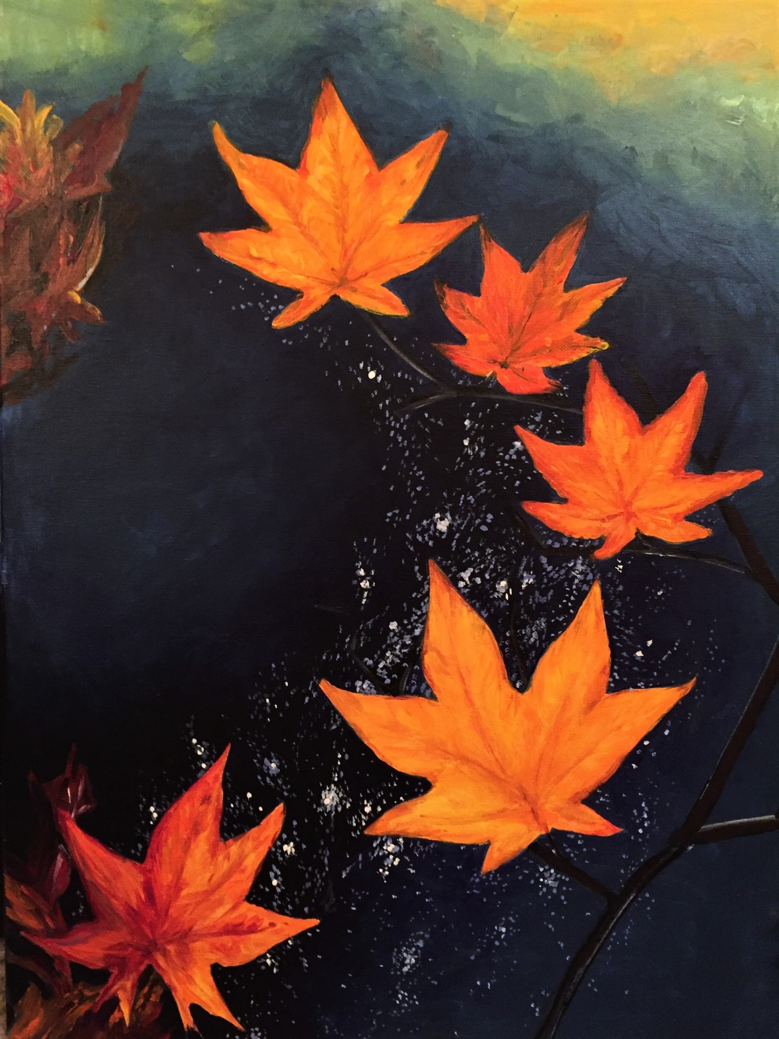 MAPLE LEAVES.....floating through a shimmery clear night sky.    18x 24       Fall 2015