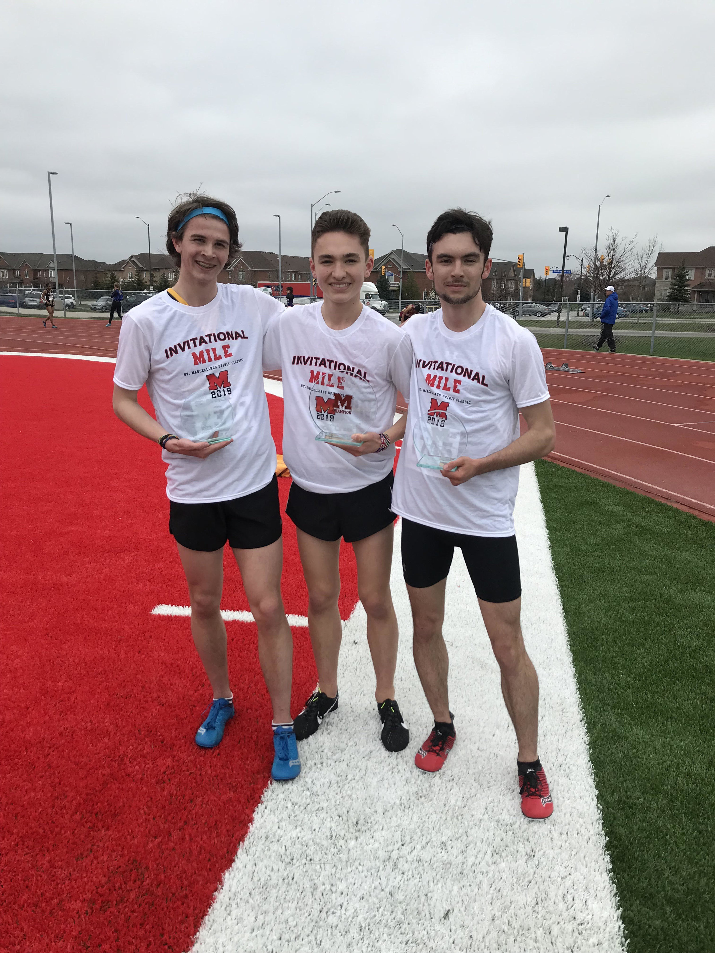 Top 3 in The St. Marcellinus Invitational Mile in 2019: Bronze-Jack Wierzbicki, Brooklin SS-4:32.70. Silver-Ben Miske, Port Credit-4:30.80. Champion & pictured above-Max Davies, Northern-4:25.50