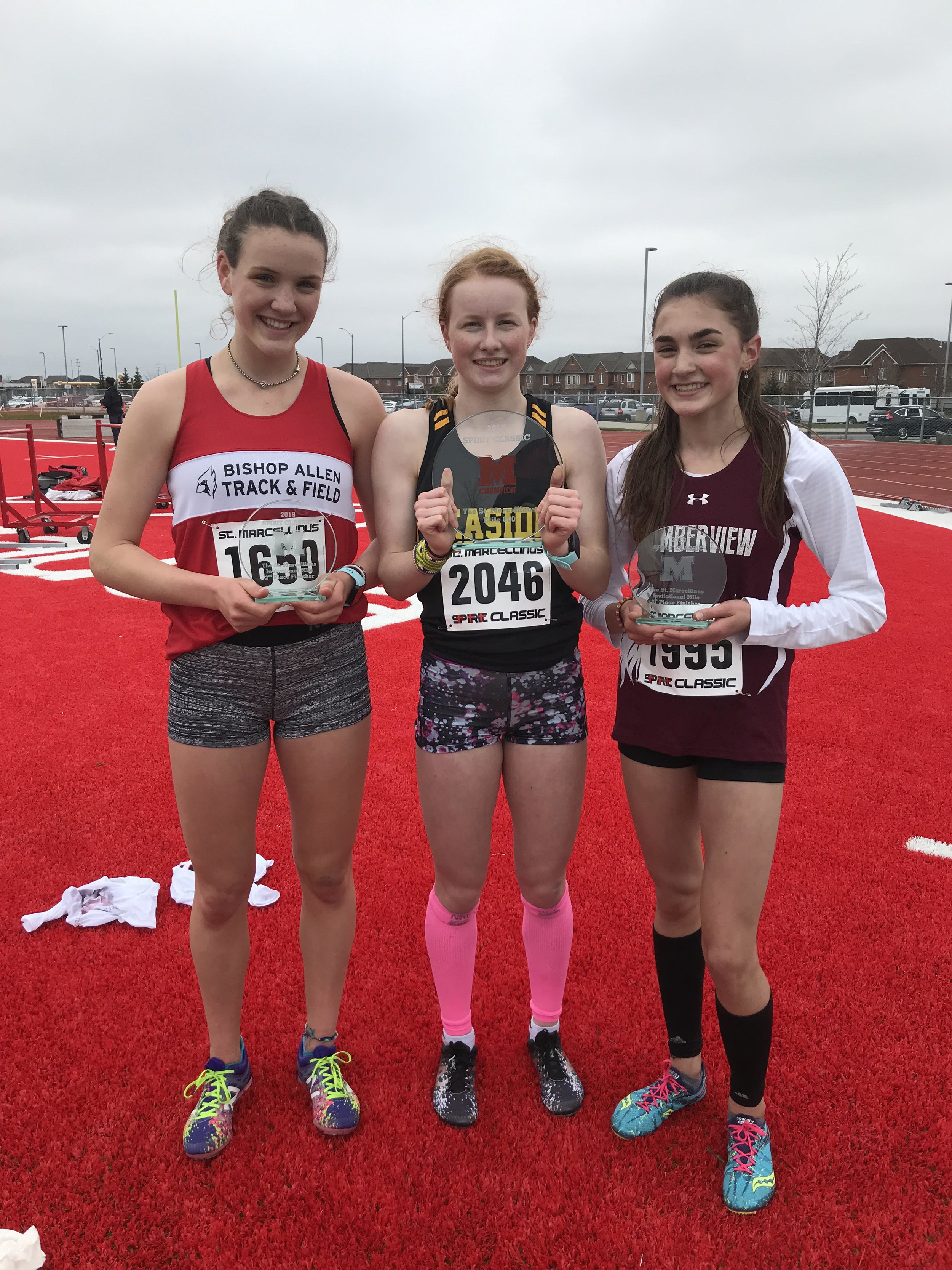 Top 3 in The St. Marcellinus Elite 800m in 2019: Bronze-Aysia Maurice, Humberview-2:17.10. Silver-Sophia Lucki, Bishop Allen-2:14.70. Champion & pictured above Sophie Coutts, Leaside HS-2:14.20!
