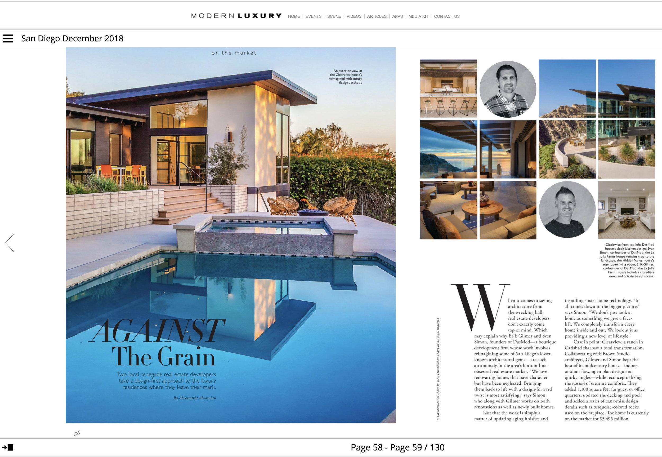 MODERN LUXURY SAN DIEGO magazine  - December 2018