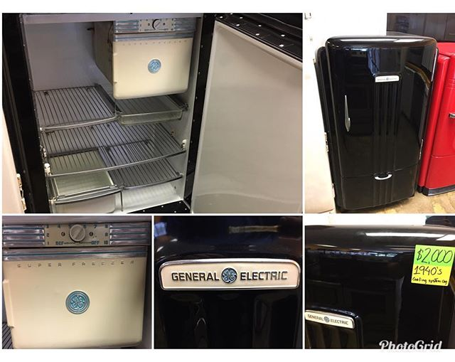 1940's General Electric fridge , new paint, powder coated racks!! Looks sharp.. would make an excellent feature to a men cave