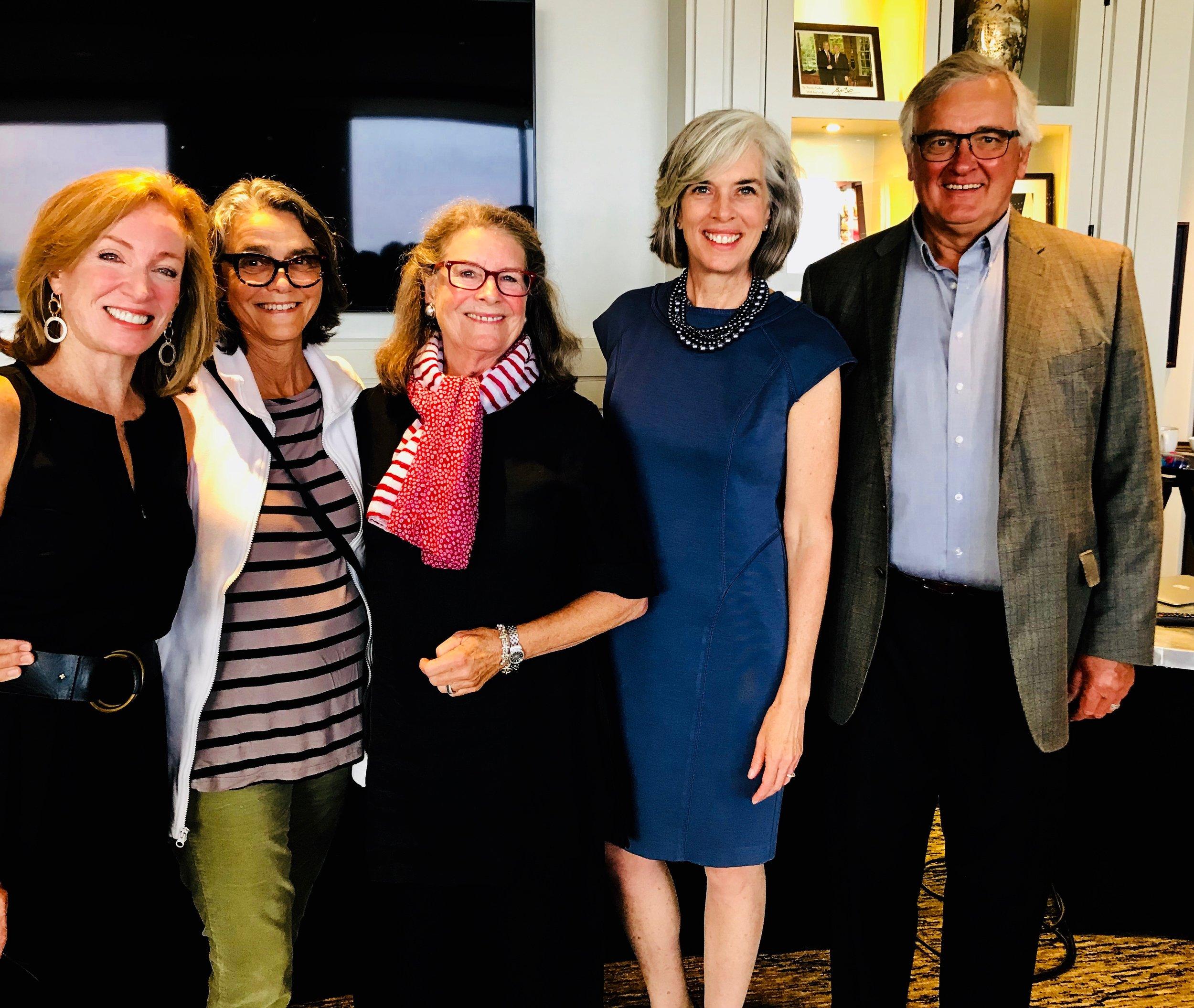 Pattie Garrahy Robertson, Nancy Train Smith, Laurie Bullard, Congresswoman Katherine Clark, MA 05, and John Bullard