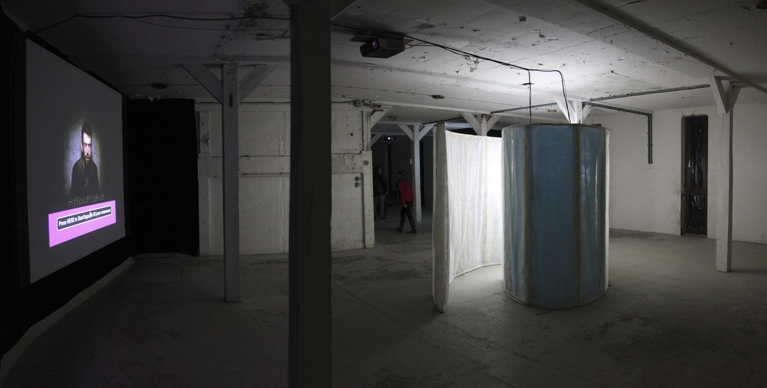 Installation at  Bouillants 5 Electronics Arts Festival, Vern-Sur-Seche, France.